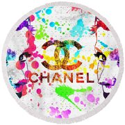 Coco Chanel Grunge Round Beach Towel