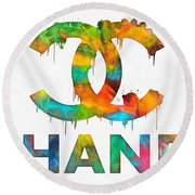 Coco Chanel Paint Splatter Color Round Beach Towel
