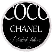 Coco Chanel Quote Round Beach Towel