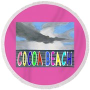 Cocoa Beach Poster T-shirt Round Beach Towel by Dick Sauer