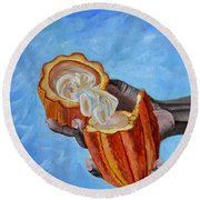 Cocoa Pod In Hand V2 Round Beach Towel