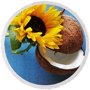 Round Beach Towel featuring the photograph Coconut And Sunflower Harmony by Jasna Gopic