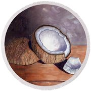 Coconut Anyone? Round Beach Towel