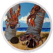 Coconut Crab Cluster Round Beach Towel