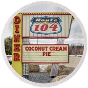 Coconut Cream Pie At The Route 104 Diner Round Beach Towel