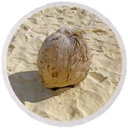 Round Beach Towel featuring the photograph Coconut In The Sand by Francesca Mackenney
