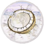 Coconut Island Round Beach Towel by Teresa White