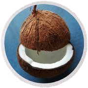 Round Beach Towel featuring the photograph Coconut King by Jasna Gopic