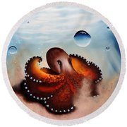 Coconut Octopus Round Beach Towel