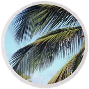 Swaying Palm Branches Round Beach Towel