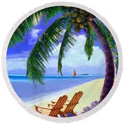 Round Beach Towel featuring the painting Coconut Palm by David  Van Hulst