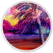 Round Beach Towel featuring the painting Coconut Palm Tree 2 by Marionette Taboniar