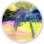 Round Beach Towel featuring the painting Coconut Palm Tree 3 by Marionette Taboniar