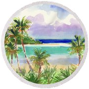 Coconut Palms And Lagoon, Aitutaki Round Beach Towel