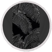 Coconut Palms In Black And White Round Beach Towel