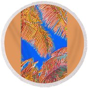 Coconut Palms In Red And Blue Round Beach Towel