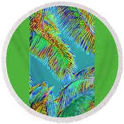 Coconut Palms Psychedelic Round Beach Towel