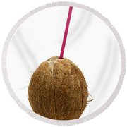 Coconut With A Straw Round Beach Towel