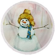 Round Beach Towel featuring the painting Cody's First Frosty by Lynn Babineau