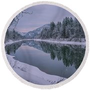 Coeur D Alene River Reflections Round Beach Towel