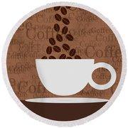 Coffee #3 Round Beach Towel
