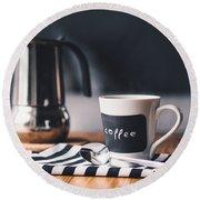 Coffee #5  Round Beach Towel