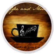 Coffee And Music Round Beach Towel
