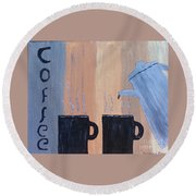 Coffee Art Round Beach Towel