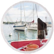 Coffee At Mediterranean Harbour Round Beach Towel