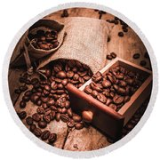 Coffee Bean Art Round Beach Towel