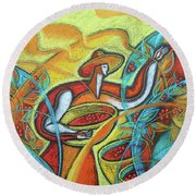Round Beach Towel featuring the painting Coffee Bean Harvest by Leon Zernitsky