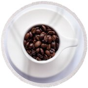 Coffee Beans Round Beach Towel by Happy Home Artistry