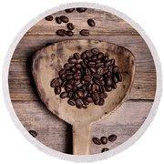 Coffee Beans In Antique Scoop. Round Beach Towel