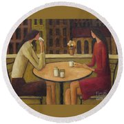 Round Beach Towel featuring the painting Coffee Break by Glenn Quist