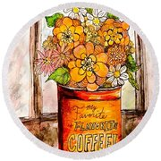 Coffee Can Bouquet  Round Beach Towel
