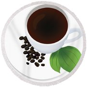 Coffee Cup On Saucer With Beans Round Beach Towel by Serena King