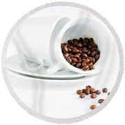 Coffee Cups And Coffee Beans  Round Beach Towel