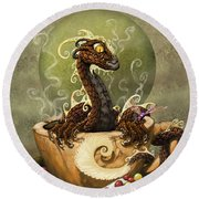 Coffee Dragon Round Beach Towel by Stanley Morrison