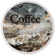 Coffee Edit 2 Brown Letters Round Beach Towel
