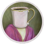 Coffee Head 2 Round Beach Towel by Leah Saulnier The Painting Maniac