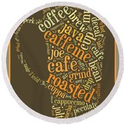 Coffee Lovers Word Cloud Round Beach Towel