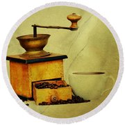 Coffee Mill And Cup Of Hot Black Coffee Round Beach Towel by Michal Boubin