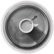 Coffee On A Wooden Tray Round Beach Towel