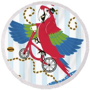 Coffee Parrot Round Beach Towel