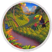 Coffee Plantation Round Beach Towel by Robin Moline