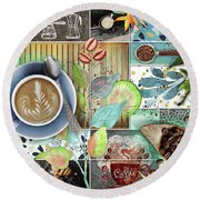 Coffee Shop Collage Round Beach Towel