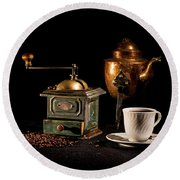 Round Beach Towel featuring the photograph Coffee-time by Torbjorn Swenelius