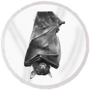 Coffie The Fruit Bat Round Beach Towel