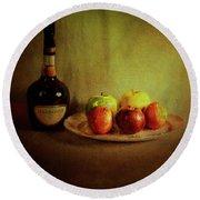 Cognac And Fruits Round Beach Towel