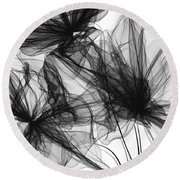 Coherence - Black And White Modern Art Round Beach Towel